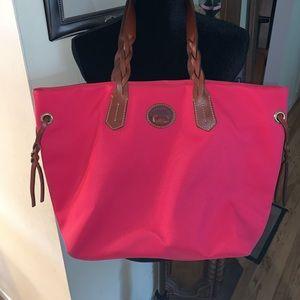 Dooney & Bourke hot pink nylon shopper tote